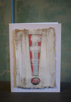 This original, handcrafted congratulations card has an exclamation point design. The painted paper was collaged to a thicker kraft paper. The card