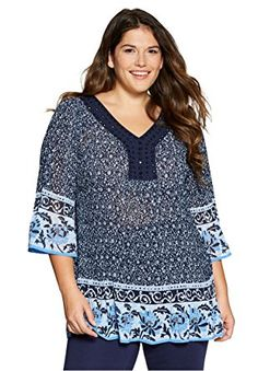 Women's Plus Size Pleated Popover Blouse With Sleeves Bell Sleeve Blouse, Bell Sleeves, Summer Tops, Plus Size Outfits, Plus Size Fashion, Plus Size Women, Tunic Tops, Clothes, Size Clothing