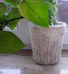 Plant Pot Cozy Knit Plant Cover Oatmeal  Plant by IskaCreations