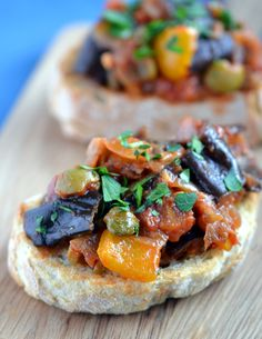 Lightened-up Caponata / Caponata is a kind of thick aubergine (eggplant) stew or spread usually served as a side dish. It has that sweet/sour thing going on which is so popular in Sicilian recipes and which is a flavour profile I'm rather fond of.
