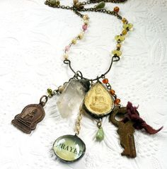 Buddhist Amulet Necklace Soldered Charm Necklace by Mystarrrs