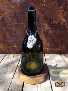 GC Creative Works Wine Bottle Art and Natural Wood Design Craft Wine Bottle Candle Holder, Wine Bottle Art, Bottle Top, Candle Holders, Cutting Glass Bottles, Mesquite Wood, Live Edge Wood, Recycled Bottles, Italian Wine