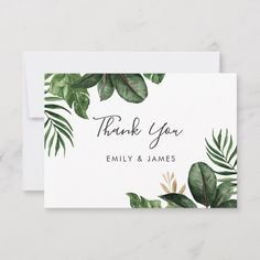 Tropical Modern Palm Rubber Tree Gold Leaf Thank You Card Custom Thank You Cards, Wedding Thank You Cards, Watercolor Cards, Watercolor Flowers, Plant Logos, Heart Wedding Invitations, Rubber Tree, Thanks Card, Motif Floral
