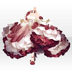 Flower dress, red and white, puffy, character dress design Manga Clothes, Drawing Anime Clothes, Dress Drawing, Anime Outfits, Cute Outfits, Anime Girl Dress, Dress Sketches, Fashion Design Drawings, Fantasy Dress