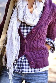 navy gingham / plum cable-knit cardigan / denim / layers // brown boots would look great with this