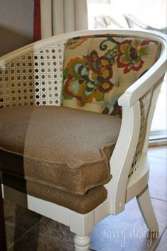 Living Savvy: How To: Reupholster a Cane Barrel Chair
