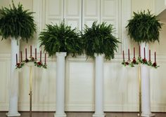 Wedding Decor- Columns with Ferns, Candle Holders with Burgundy Roses