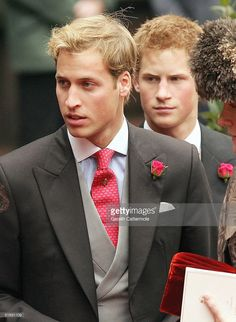 Princes Harry and William leave Chester Cathedral after the wedding of Lady Tamara Grovesnor on November 6, 2004 in Chester, England. Lady Tamara is the eldest daughter of The Duke and Duchess of Westminster and Edward van Cutsem - a good friend of Prince William - is the eldest son of the van Custem's. Van Cutsem, 30, famously accompanied Prince William on his travels to South Africa in 2000, and his parents are close friends of The Prince Of Wales.