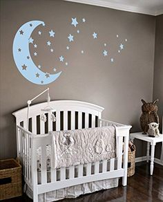 Moon and Stars Night Sky Vinyl Wall Art Decal Sticker Design for Nursery Room DIY Mural Decoration (Powder Blue, 22x49 inches) #affiliate