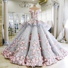 Vestido De Novia 2016 Luxury Blue Wedding Dress with Hand Made Pink Flowers See Through Back Bridal Gowns Robe Mariage Plus Size(China (Mainland))