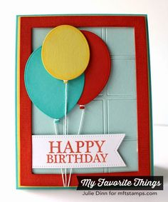 Celebrate You, Linen Background, Balloon STAX Die-namics, Pierced Fishtail Flags STAX Die-namics, Rectangle Frames Die-namics, Square Grid Cover-Up Die-namics - Julie Dinn #mftstamps