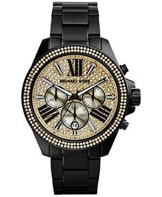 Michael Kors Women's Chronograph Wren Black Ion-Plated Stainless Steel Bracelet Watch 42mm MK5961 - Women's Watches - Jewelry & Watches - Macy's