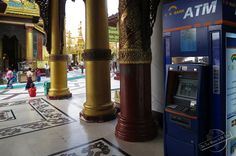 ATM right in the Center of Shwedagon Money Paya in Yangon, Myanmar