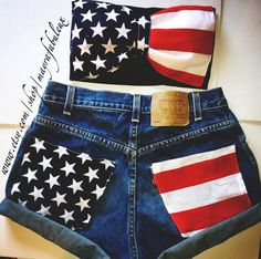 American Flag High Waisted Shorts with matching American Flag Bow Bandeau. Good Independence Day outfit American Flag High Waisted Shorts with matching American Flag Bow Bandeau. Independece Day, Bow Bandeau, Vintage High Waisted Shorts, Summer Outfits, Cute Outfits, Emo Outfits, Hipster Outfits, Summer Shorts, Summer Clothes