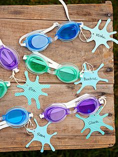 Water Birthday Party Swim Swag For each party guest, personalize a pair of child-size goggles with a splash-shaped tag. 15.00 for 12; Partypalooza.com Originally published in the July 2012 issue of Parents magazine. Download the tag template.