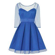 Lindy Bop Swing Serephina prom jurk met polkadot stippen royal blauw -