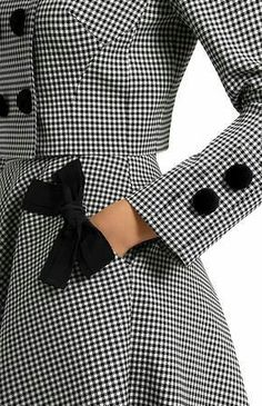 Black & White Checked Jacket with Matching Skirt ~ Large Black Bow on Pocket & Buttons on Sleeve ....