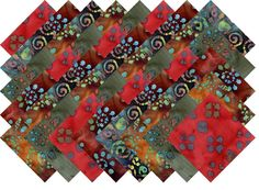 "BATIK VARIETY #12 COLLECTION 40 Precut 5"" QUILTING FABRIC SQUARES #MDG"