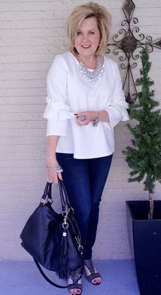50 IS NOT OLD | BOX PLEAT AND RUFFLES | Crisp white | Classic | Fall | Ruffles | Sleeves are the trend | Fashion over 40 for the everyday woman