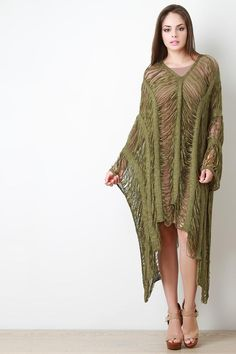 Made with ❤️ Shredded Knit Oversized Poncho  http://bakeraveclothing.com/products/ung70711