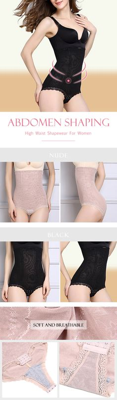 High Waist Abdomen Shaping Crotch Buckle Soft Shapewear For Women #fashion #style #winter #fall
