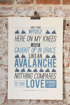"""Vintage Typography Poster Print Worship Song - """"Like An Avalanche"""" by Hillsong United"""