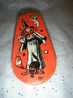 Vintage Halloween Noisemaker ~ Tin Litho Witch & Cat * U.S. Metal Toy Co.