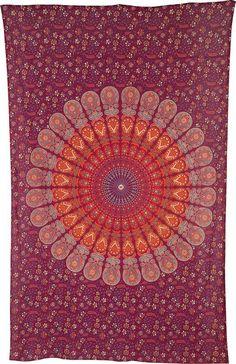 Anita Medium Mandala Tapestry Red Hippie Tapestry by TaaraBazaar