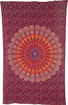 ++Approximately 55 x 85 inches (4.5 x 7 feet). Inspired by beloved Indian block prints. ++Red and orange design printed on 100% cotton. Tapestry,