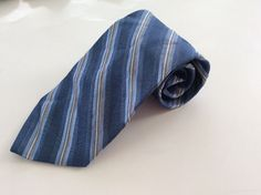 Calvin Klein Neck Tie Blue White Gold Striped 100% Silk #CalvinKlein #NeckTie