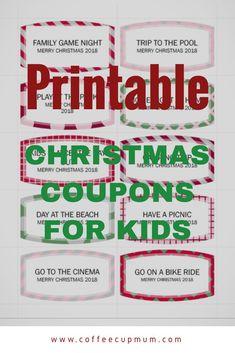 Printable Christmas Coupons for kids. Kids can exchange coupons for fun family outings.