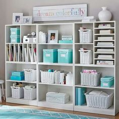 love the turquoise and white. maybe throw a little black in there. scrapbook or craft room organization. Stack Me Up Magazine Super Set Craft Room Storage, Craft Organization, Craft Rooms, Organizing, Book Storage, Cube Storage, Storage Baskets, Paper Storage, Wall Storage