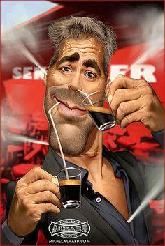 Caricatura de George Clooney.  ~ Ʀεƥɪииεð вƴ╭•⊰✿ © Ʀσxʌиʌ Ƭʌиʌ ✿⊱•╮
