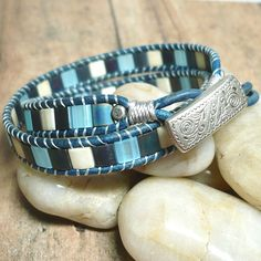 Denim Blue Leather Double Wrap Chan Luu Style Tila Bead Bracelet | KatsAllThat - Jewelry on ArtFire