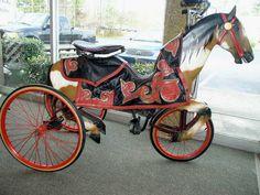 Rare Adult Mechanical Hobby Horse Carnival Amusement Park Tricycle c. 1930's goantiques.com