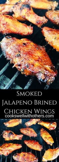 Smoked Jalapeno Brined Chicken Wings - Cooks Well With OthersYou can find How to cook chicken and more on our website.Smoked Jalapeno Brined Chicken Wings - Cooks Well With Others Chicken Thights Recipes, Chicken Wing Recipes, Chicken Parmesan Recipes, Healthy Chicken Recipes, Brine For Chicken Wings Recipe, Chicken Ideas, Recipe Chicken, Traeger Recipes, Smoked Meat Recipes