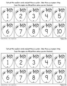 Practice sequencing the numbers to ten and counting by 1's, as well as patterning, with this apple FREEBIE!  Students will sequence the apples by 1's and glue them to a paper/sentence strip.  When they are finished, they can color the apples an AB pattern.