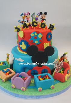 Butterfly Cake: Mickey Mouse Club House Cake with Cho cho express train