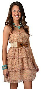 Argee® Ladies Rust Cream Floral Ruffled Tiered with Bow Belt Strapless Dress Tina Miller Thompson do you like it? Western Bridesmaid Dresses, Cowgirl Dresses, Peplum Dress, Strapless Dress, Dress Up, Country Western Dresses, Pageant Wear, Fashion Beauty, Womens Fashion