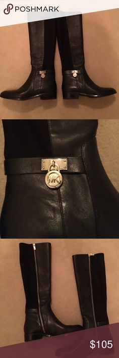"""NWOT Michael Kors Tall Boots NWOT Michael Kors Tall Boots.  NEVER WORN. Leather and textile upper and rubber soles.  Inside zip. Small silver MK lock charm near each ankle.  1"""" heel.  Size 6 Michael Kors Shoes"""