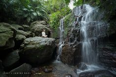 Jungle waterfall meditation, Ishigaki Island, Japan