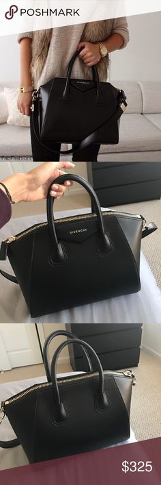 "Givenchy Antigona Purse Brand new! Black smooth leather. Structured base. Top zip closure. Medium size. Approx 11""h x 13""w x 7.5""d. This is for mirror image insp. bag! Givenchy Bags Satchels"