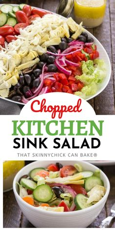 Kitchen Sink Chopped Salad- A versatile salad with greens, vegetables, cheese and anything but the kitchen sink! #salad  #sidedish #choppedsalad #composedsalad #healthy #vinaigrette #thatskinnychickcanbake
