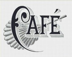 Cafe Sign Cross Stitch Pattern, Vintage Typography Instant Download Counted Cross Stitch Chart, PDF Digital Download