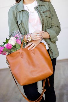 Casual Valentine's Day Outfit: Madewell Tote, Utility Jacket, Sincerely Jules Tee
