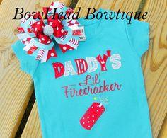 Daddy's Lil' Firecracker  4th of July by BowHeadBowtiqueInc, $30.00