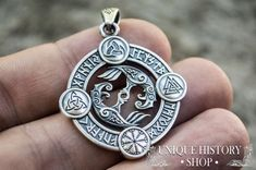 Sterling Silver Pendant with Odin's Raven and Norse Symbols Huginn and Muninn, the mighty ravens of Odin that brings him tidings from his vast empire. Necklace Types, Men Necklace, Celtic Necklace, Norse Symbols, Mayan Symbols, Egyptian Symbols, Ancient Symbols, Sterling Silver Pendants, Silver Necklaces