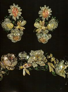 Tiara and earrings of Catherine II of Russia. Gorgeous colors, must of really sparkled by the candle light