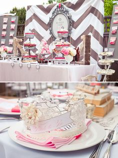 vintage bridal shower theme ideas | This is an interesting take on a vintage modern bridal shower. I like ...