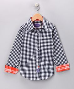 Navy Gingham Button-Up - Toddler & Boys